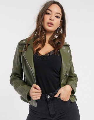 Vero Moda coated leather look biker jacket in khaki-Green