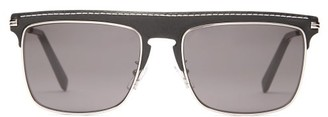 Loewe D Frame Metal And Leather Sunglasses - Mens - Black