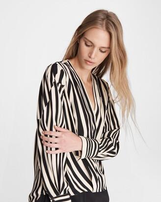 Lei stripe silk charmeuse blouse