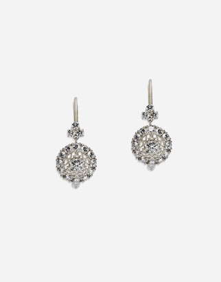 Dolce & Gabbana Sicily Earrings In White Gold With Diamonds
