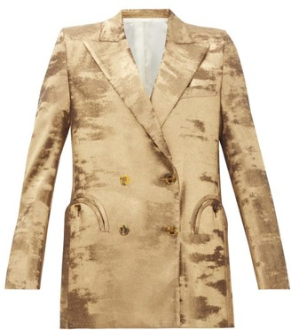 BLAZÉ MILANO Everyday Double-breasted Metallic Jacket - Womens - Gold