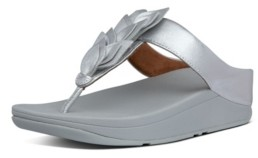 FitFlop Women's Fino Leaf Metallic Leather Toe-Thongs Sandal Women's Shoes