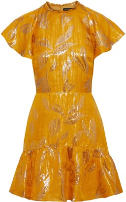 Rachel Zoe Sorrene Ruffled Metallic Jacquard Mini Dress