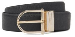 BOSS Reversible belt in smooth and structured leather with two buckles