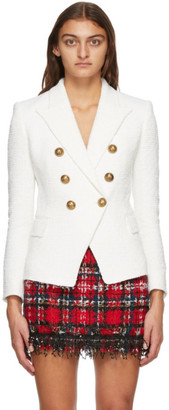 Balmain White Tweed Six Button Blazer