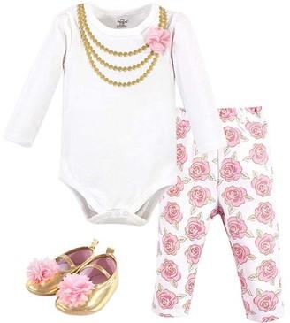 Little Treasure Girls' Infant Bodysuits Gold - White & Pink Floral Necklace Long-Sleeve Bodysuit Set - Infant
