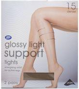 Boots 15 Denier Light Support Gloss Natural Tan Tights 2 Pair Pack