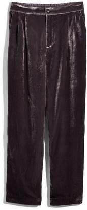 Madewell Velvet Tapered Pleat Pull-On Pants