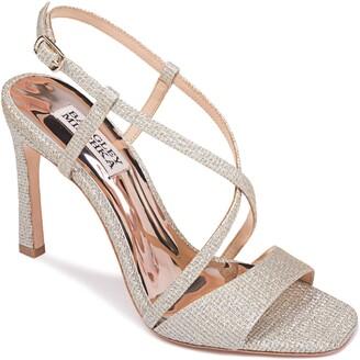 Badgley Mischka Ebiza Glitter Cross Strap Sandal