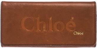 Chloé Tan Leather Flap Continental Wallet