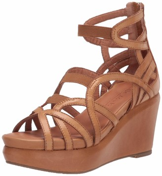 Gentle Souls by Kenneth Cole Gentle Souls Womens Strappy Wedged Sandal Brown 8 Medium