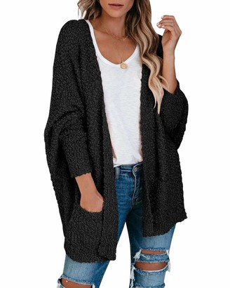 Saodimallsu Womens Chunky Popcorn Cardigan Oversized Open Front Boyfriend Batwing Long Sleeve Fuzzy Knit Sweaters - black - X-Large