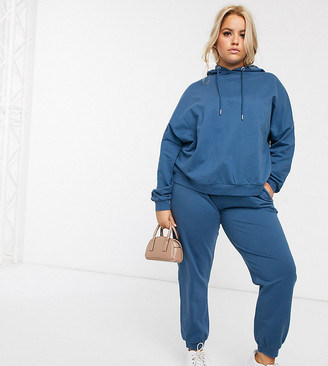 Asos DESIGN Curve tracksuit hoodie/slim jogger with tie in organic cotton