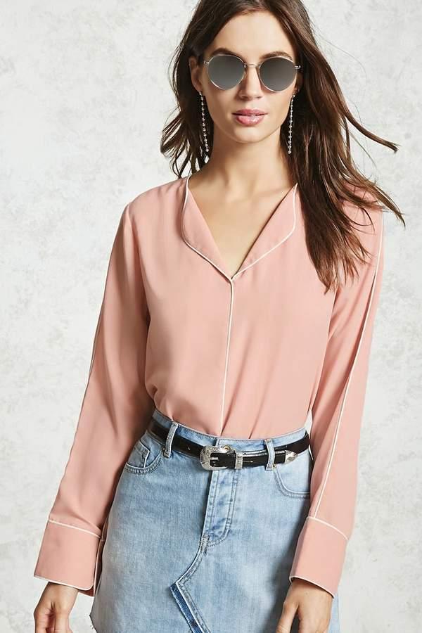 Forever 21 Collarless Contrast-Trim Shirt