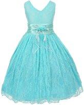 Shanil Inc. Little Girls Blue Flower Embellished Waistband Lace Flower Girl Dress