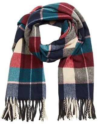 San Diego Hat Company Oversized Plaid Scarf with Fringe (Multi) Scarves