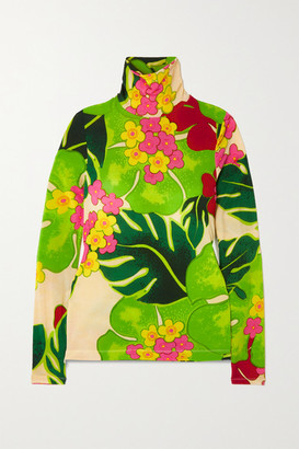 Dries Van Noten Floral-print Stretch-jersey Turtleneck Top - Bright green