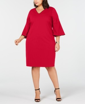 Calvin Klein Size Bell-Sleeve Sheath Dress