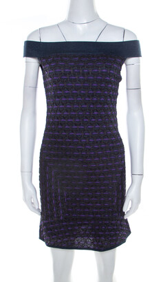 M Missoni Multicolor Patterned Lurex Knit Off Shoulder Dress M