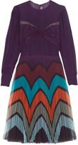 Mary Katrantzou Beta pleated tulle-paneled chiffon dress
