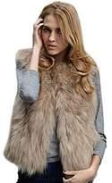 Forart Women Faux Fur Vest Warm Sleeveless Waistcoat Jacket
