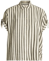 The Great The Tie Sleeve Big striped cotton shirt