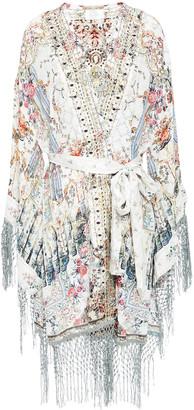 Camilla Fringed Printed Silk Crepe De Chine Kimono