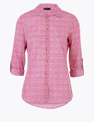 Marks and Spencer Pure Cotton Floral Long Sleeve Shirt