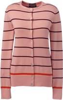 Lands'end Women's Plus Size Supima Cardigan Stripe Sweater