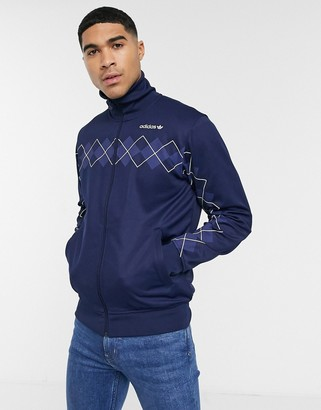 adidas track jacket with argyle print in navy