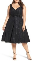 Mac Duggal Plus Size Women's Embellished Lace Cocktail Dress
