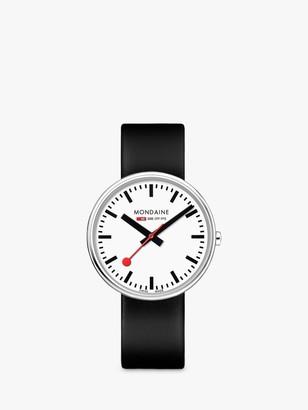 Mondaine MSX.3511B.LB Unisex Mini Giant Leather Strap Watch, Black/White
