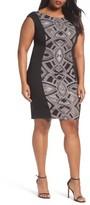 Sangria Plus Size Women's Glitter Panel Sheath Dress