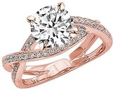 Houston Diamond District 2.29 Carat t.w. 14K Rose Gold Round Eternity Love Criss Cross Twisting Split Shank Diamond Engagement Ring I1
