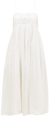 Anaak - Viola Chrysanthemum-embroidered Cotton-blend Dress - White