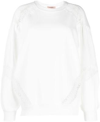 Twin-Set Cotton Lace-Insert Sweatshirt