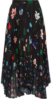 Markus Lupfer Lila Pleated Printed Chiffon Midi Skirt - Black