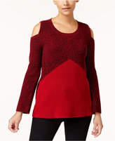 Style&Co. Style & Co Colorblocked Cold-Shoulder Sweater, Created for Macy's