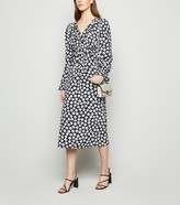 New Look Floral Frill Long Sleeve Midi Dress