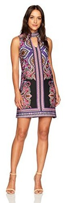 Tiana B T I A N A B. Women's Petite Paisley Printed Jersey Dress with Front Keyhole