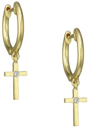 Meira T 14K Yellow Gold & Diamond Cross Charm Huggie Hoop Earrings