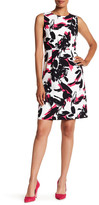 Kasper Brushed Floral Printed Crepe Dress