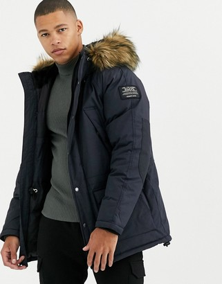 Schott Artica X hooded nylon parka jacket slim fit detachable faux fur trim in navy