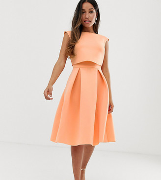 ASOS DESIGN Petite fold back crop top midi prom dress