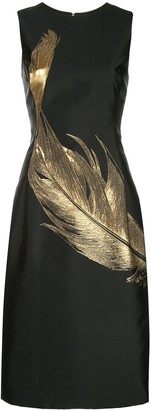 Oscar de la Renta Feather Fitted Sleeveless Dress