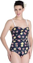Hell Bunny Navy Emma Floral 50s Retro Vintage Pin Up Beach One Piece Swimsuit - (L)