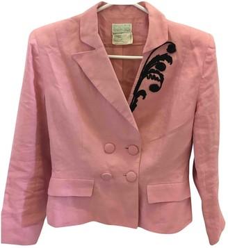 Emmanuelle Khanh Pink Linen Jacket for Women Vintage