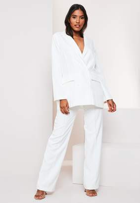Missguided White Co Ord Double Breasted Oversized Blazer