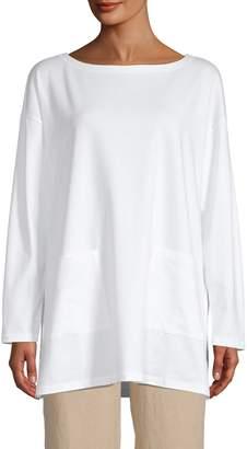 Eileen Fisher Bateau Neck Stretch-Cotton Tunic