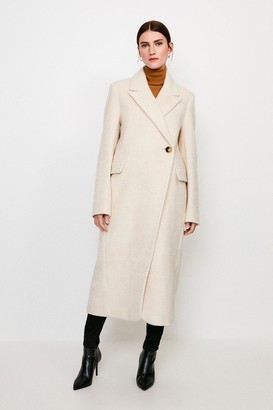 Karen Millen Texture Asymmetric Button Wrap Coat